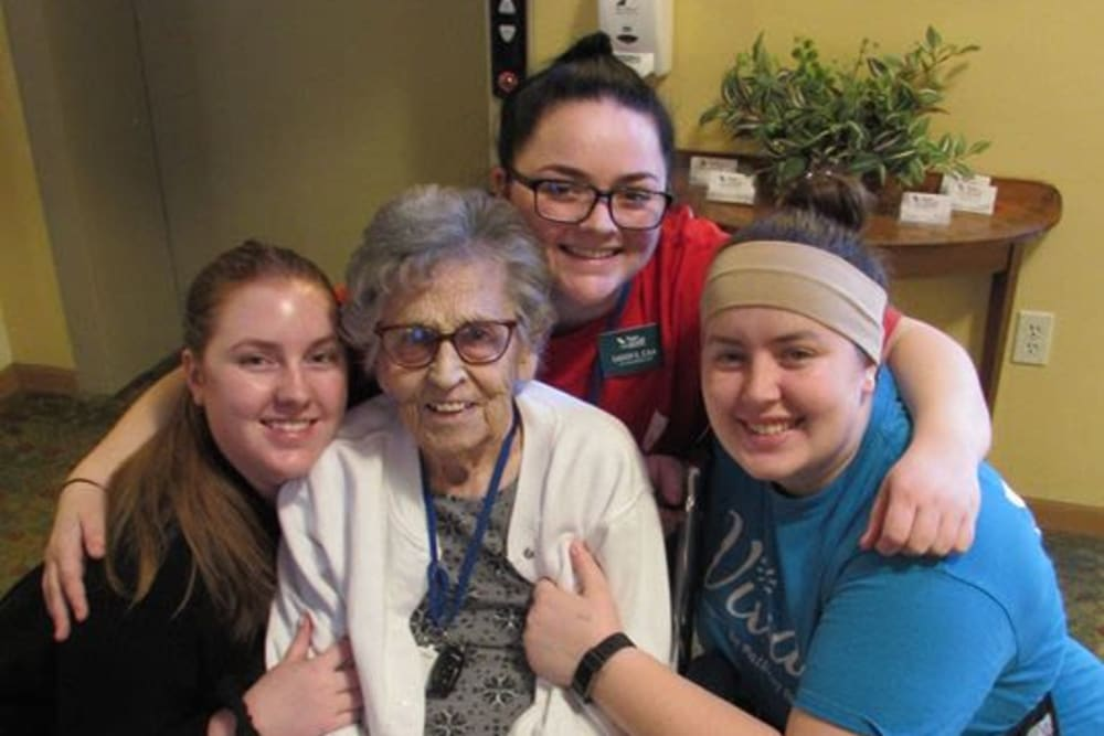 Resident and employees at Age Well Centre for Life Enrichment