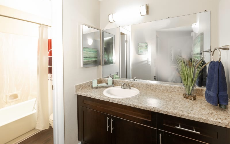 Generous counter space and a large mirror in a bathroom at Callaway Apartments in Taylorsville, Utah