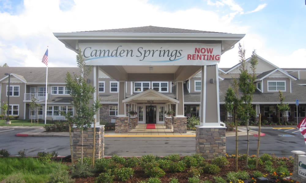 Exterior view of the front of Camden Springs Gracious Retirement Living in Elk Grove, California