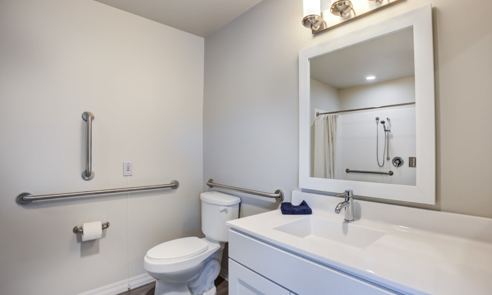 Bathroom with accessibility rails at Quail Park at Morrison Ranch in Gilbert, Arizona