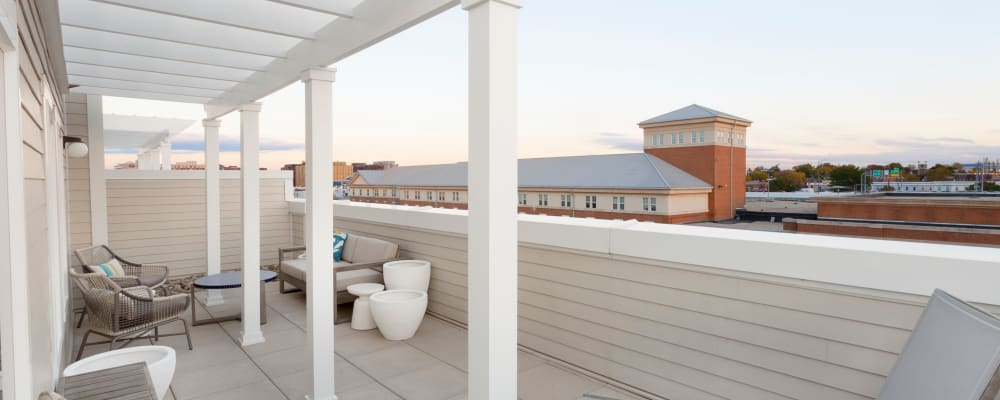 Private deck with an amazing view outside a model home at The Bixby in Washington, District of Columbia