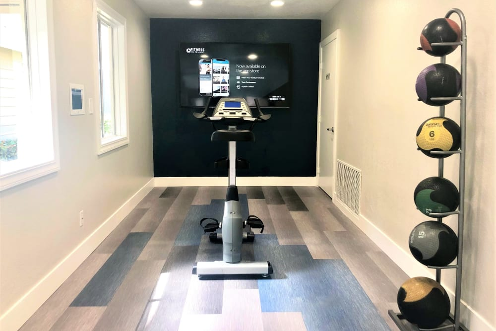 The fitness center complete with a fitness on demand room at Village Oaks in Chino Hills, California