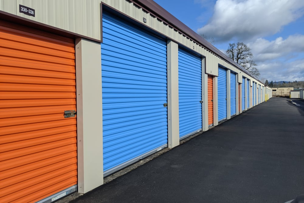 Blue and orange doors on storage units at Battle Ground Mini Storage in Battle Ground, Washington