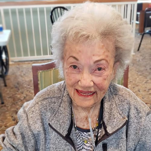 A happy resident at Canoe Brook Assisted Living & Memory Care in Catoosa, Oklahoma