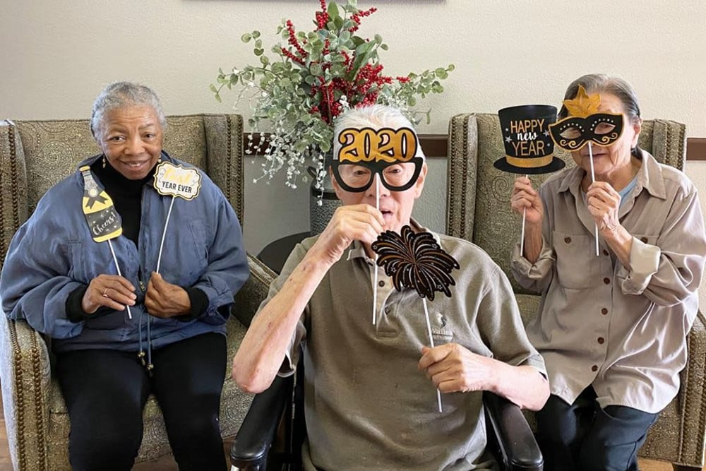 Residents celebrating New Year's day at Parkrose Gardens of Fairfield in Fairfield, California