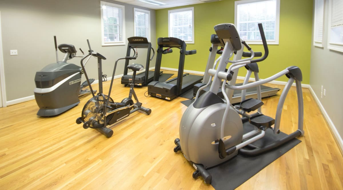 Fitness center with treadmills at Glade Creek Apartments in Roanoke, Virginia