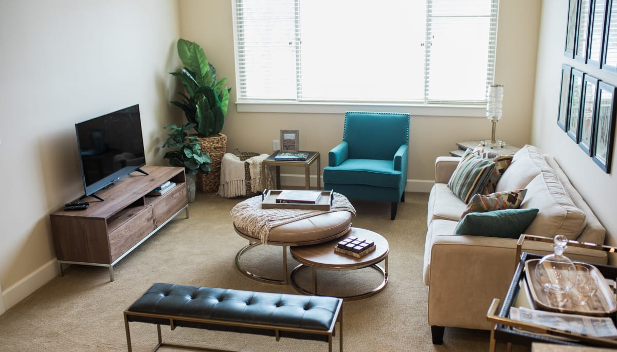 Seating in an apartment living room at Touchmark at All Saints in Sioux Falls, South Dakota