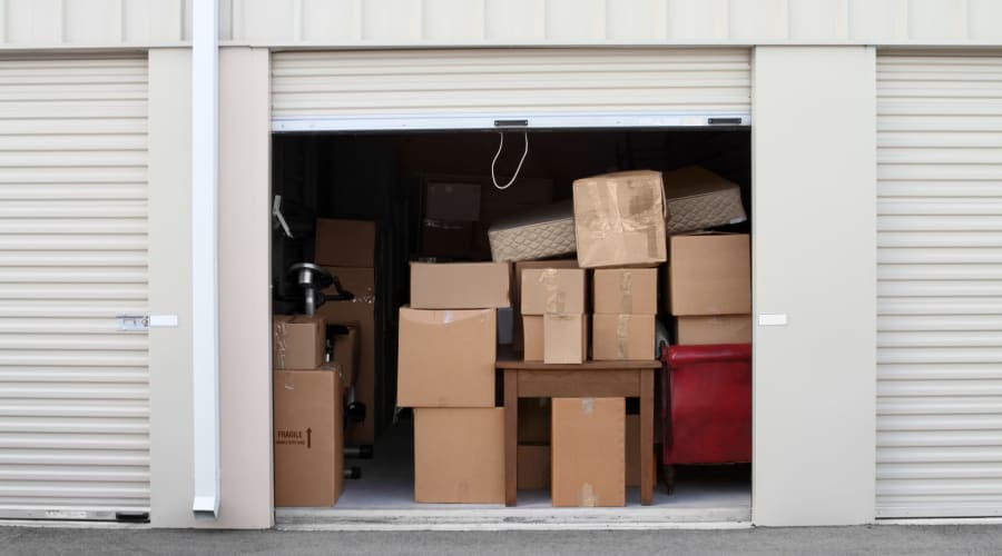 A storage unit filled with boxes at KO Storage of Aberdeen in Aberdeen, South Dakota