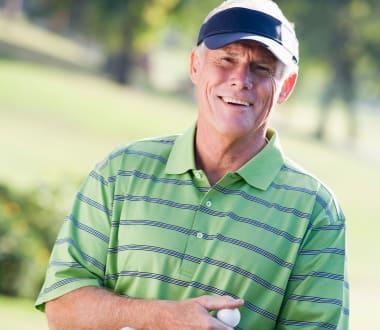Senior golfing at Las Soleras Senior Living in Santa Fe, New Mexico