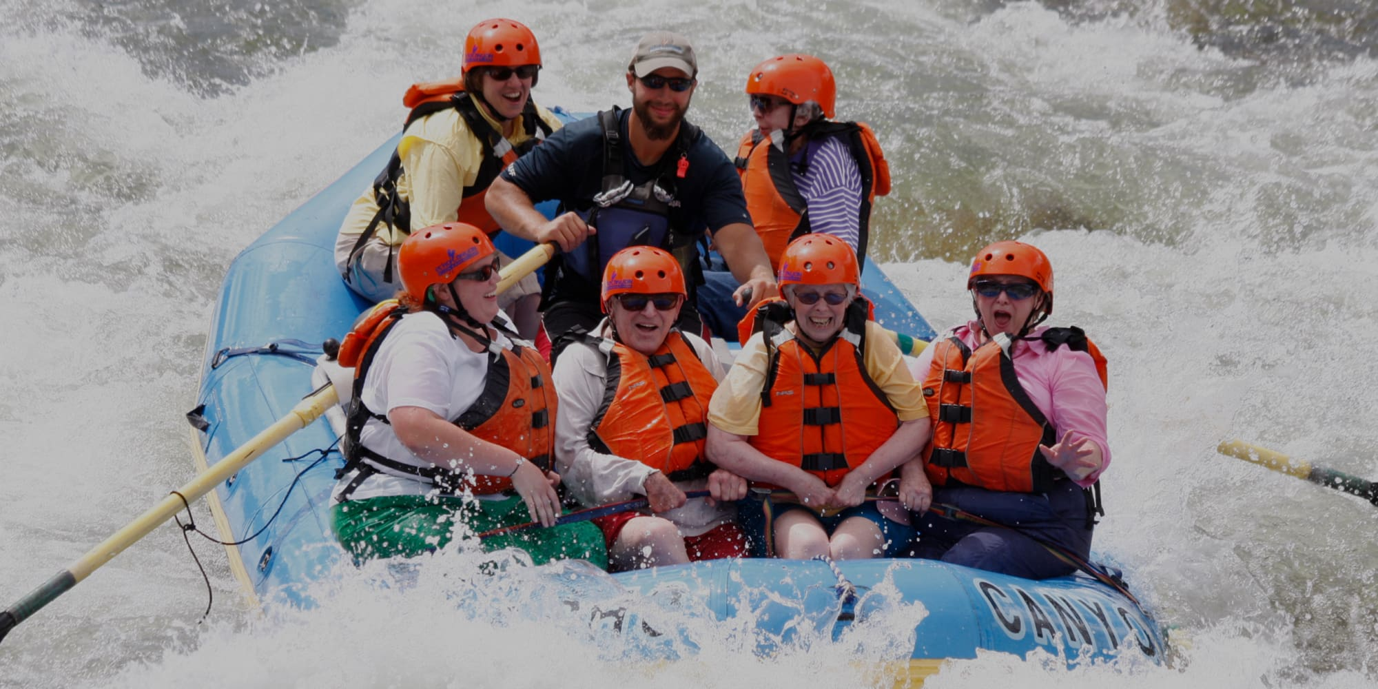 A group of residents from Hawthorn Senior Living in Vancouver, Washington rafting