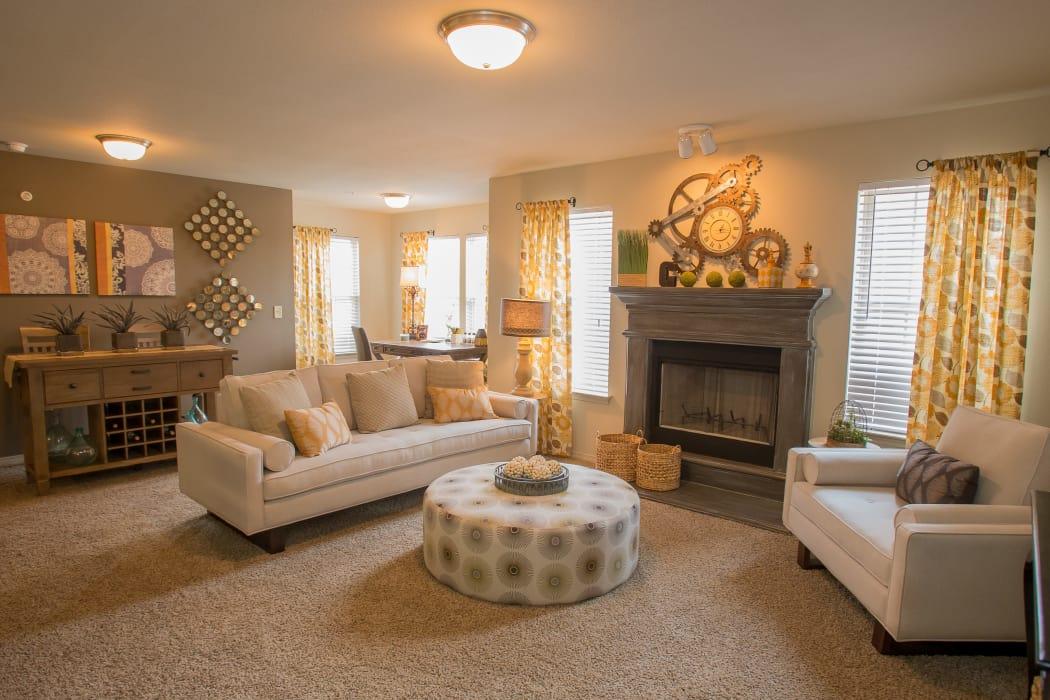 Wonderful living room at Cascata Apartments in Tulsa, Oklahoma