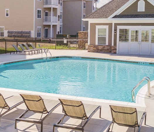 Sparkling, resort-style swimming pool at The Landings at Meadowood in Baldwinsville, New York