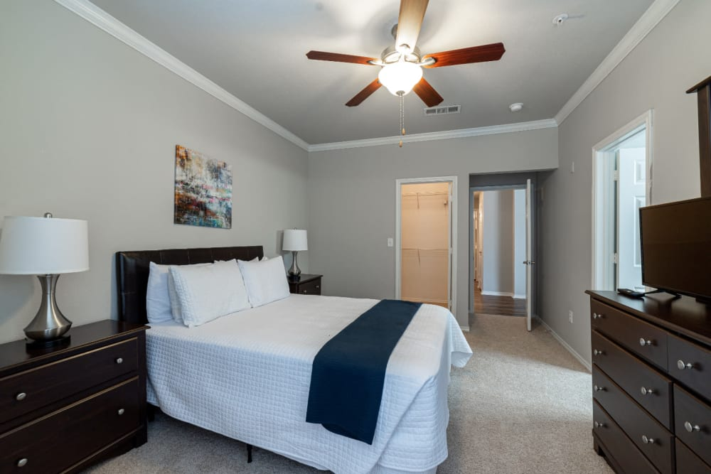 Cozy bedroom with walk in closet with organizer at Marquis at Bellaire Ranch in Fort Worth, Texas