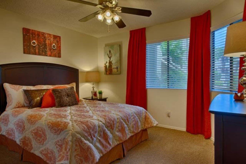 Enjoy a spacious master bedroom at Casa Santa Fe Apartments in Scottsdale, Arizona