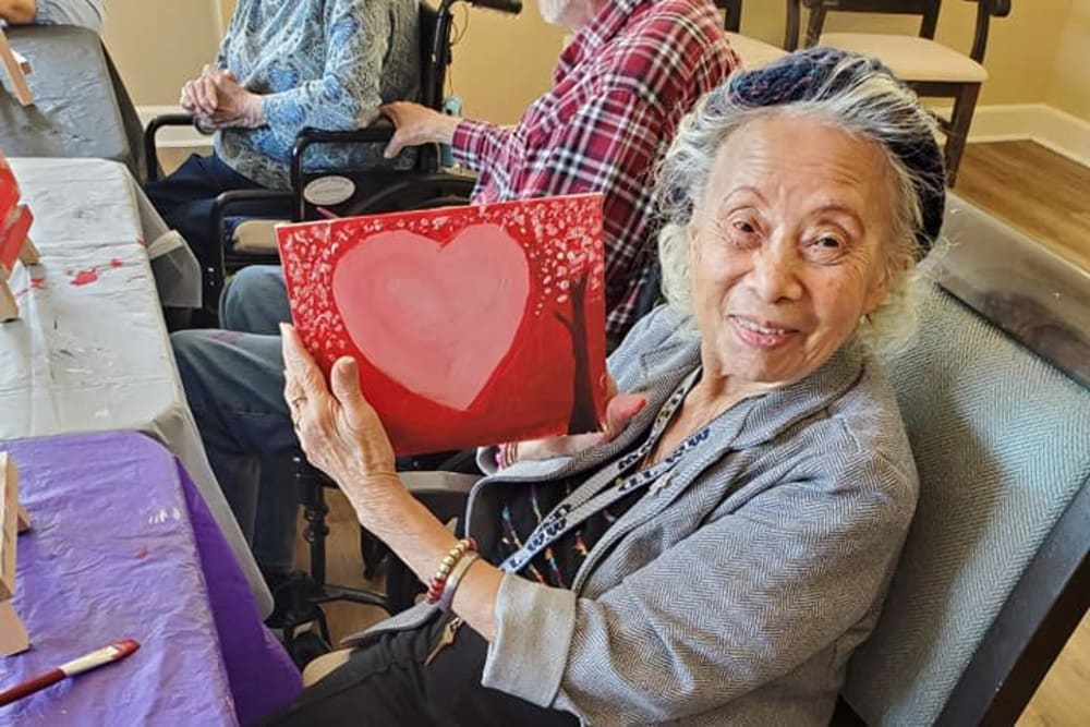Residents making valentines at Sunlit Gardens in Alta Loma, California