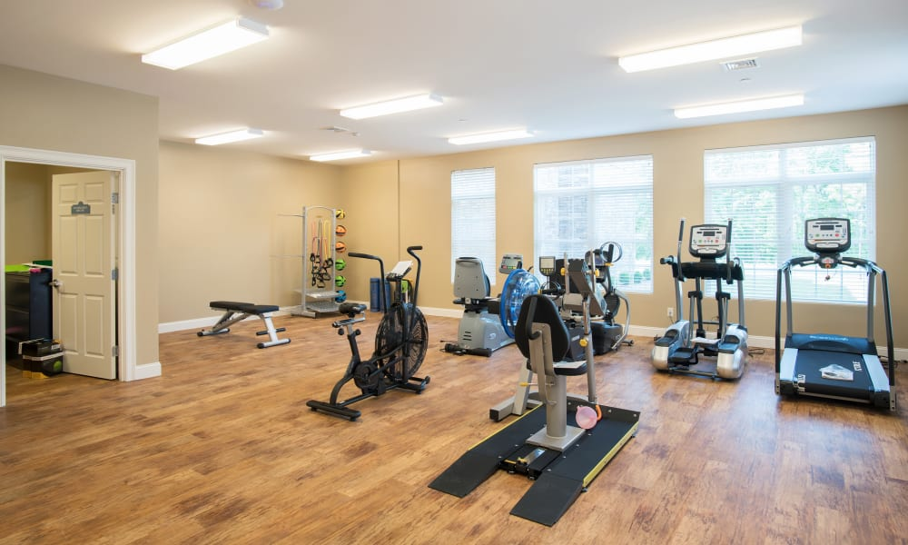 An exercise room at Keystone Place at Newbury Brook in Torrington, Connecticut