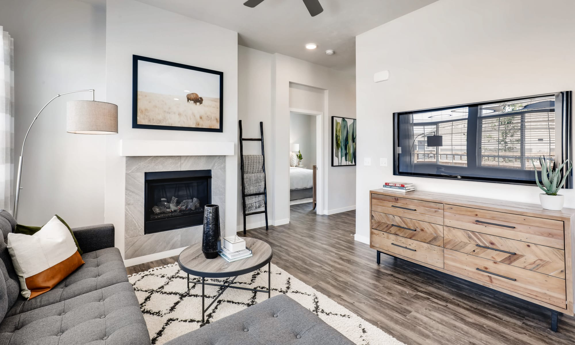 Model living room at Avilla Buffalo Run in Commerce City, Colorado