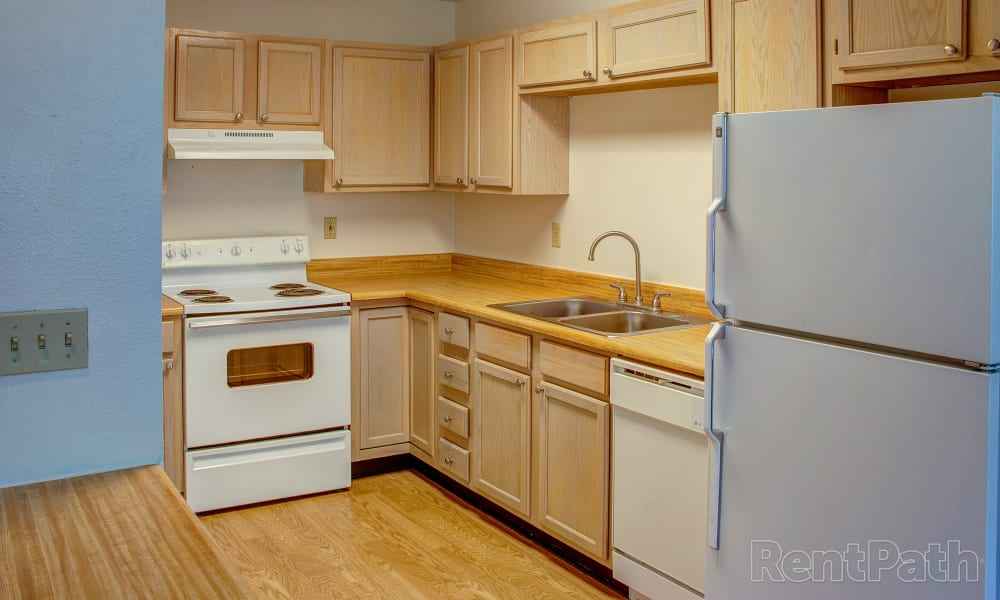 Mountain View Apartments offers a cozy kitchen in Bozeman, Montana