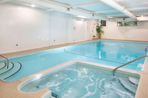 Lovely indoor pool and spa at Fraser Tolmie Apartments in Victoria, British Columbia