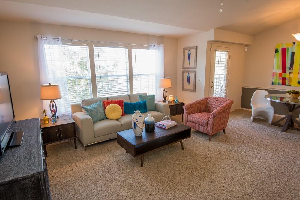 Bright living room at Villas at Aspen Park in Broken Arrow, Oklahoma