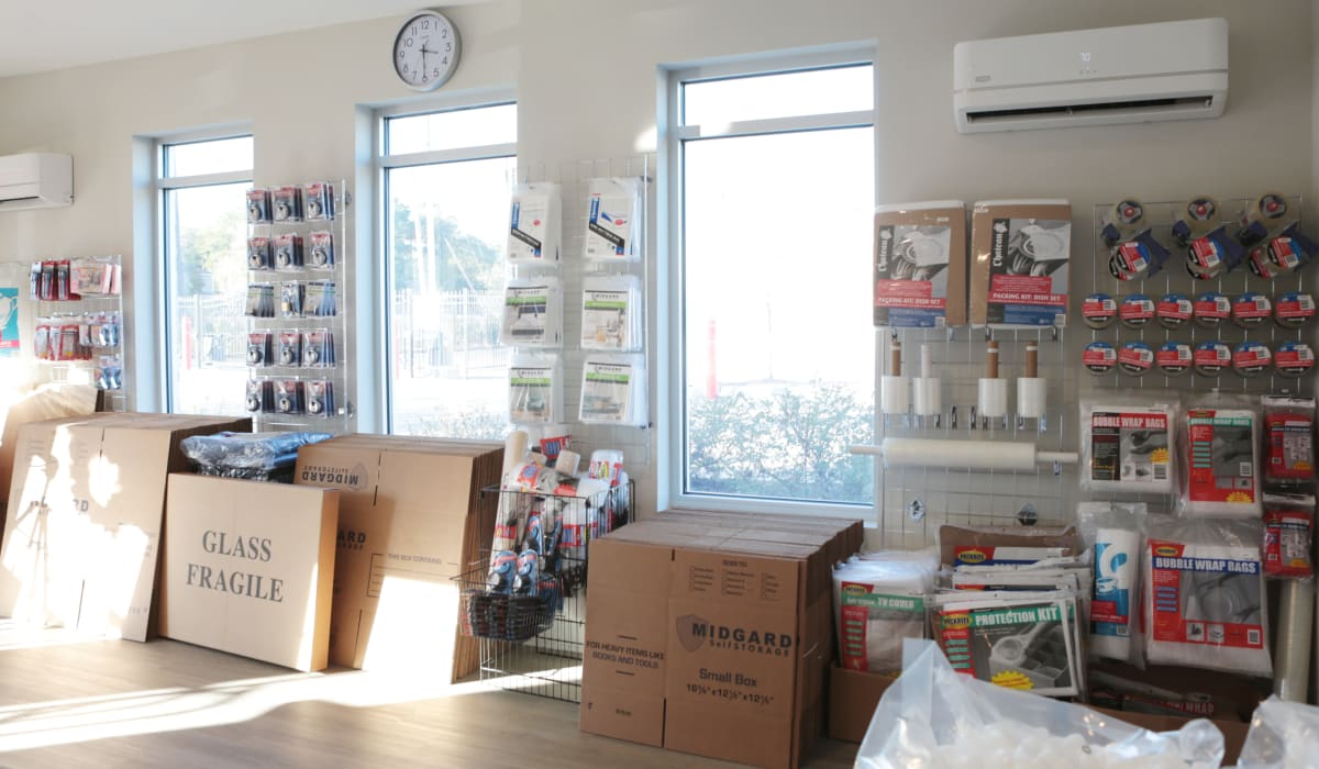 Packing supplies available at Midgard Self Storage in Wilmington, North Carolina