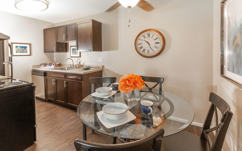 Renovated dining room and kitchen at Callaway Apartments in Taylorsville, Utah