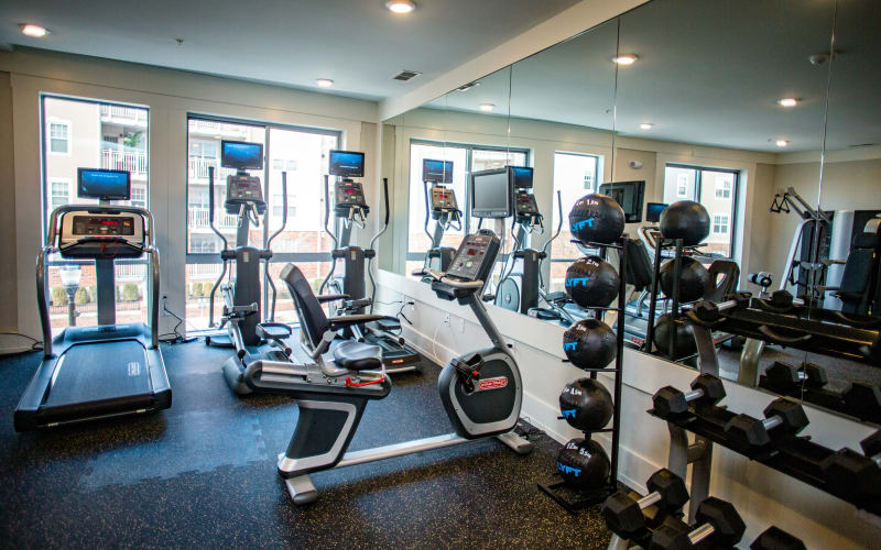 On-site fitness center at Bedford Hall in Stamford