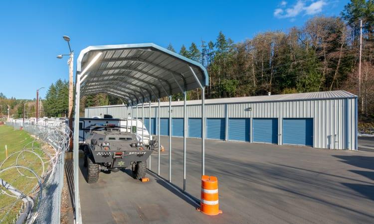 Storage facility exterior storage units at Glacier West Self Storage in Belfair, Washington