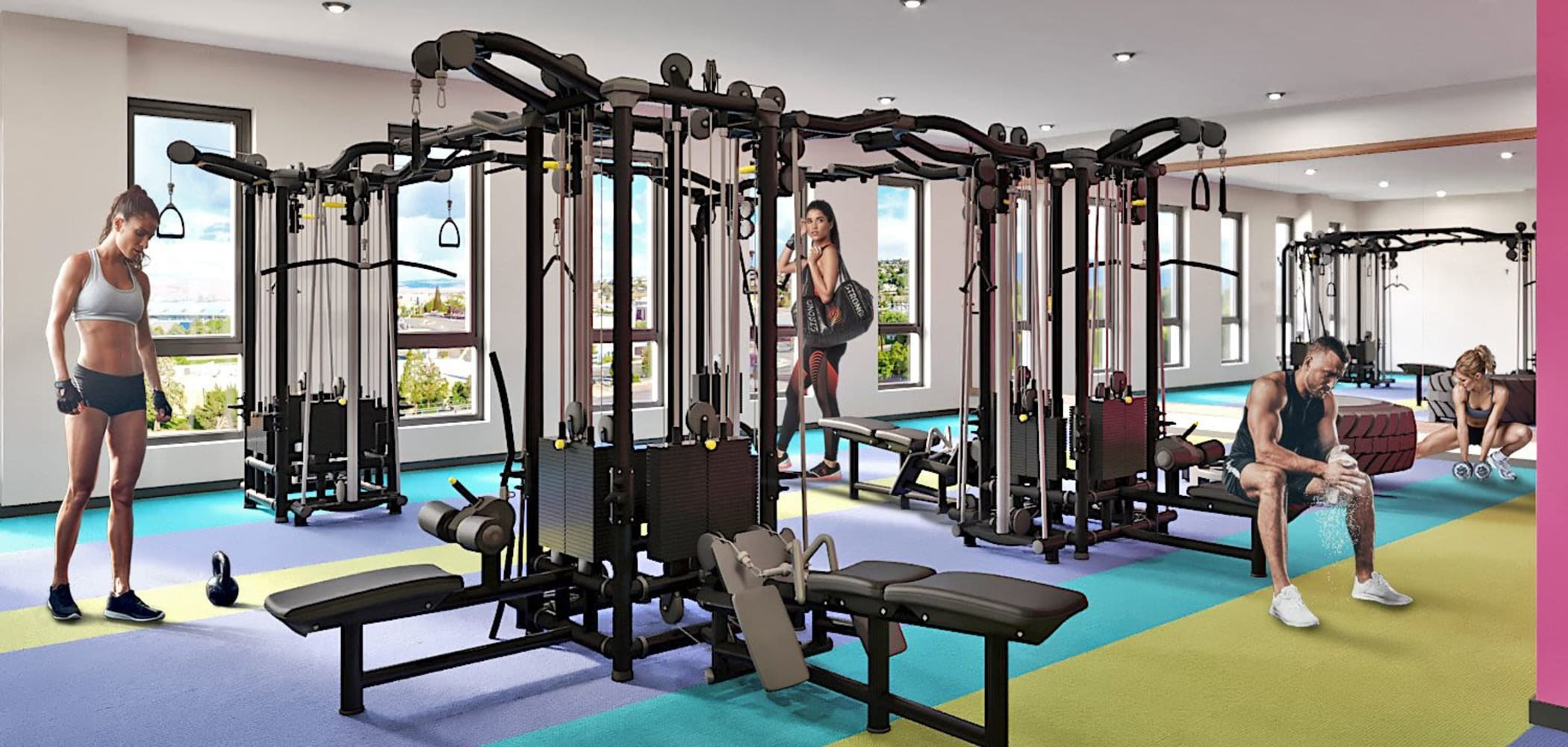 Fully equipped fitness center at UNCOMMON Reno in Reno, Nevada
