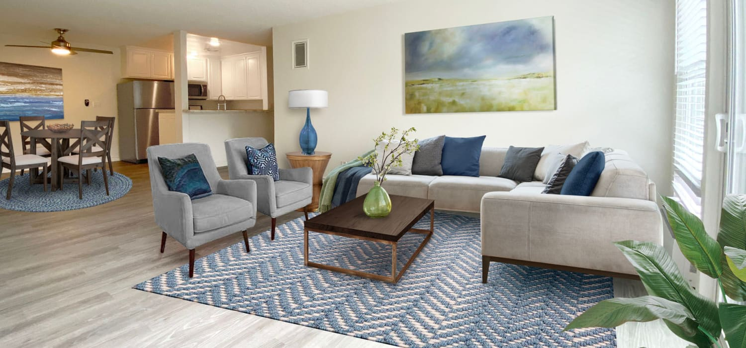 Model classic apartment's well-furnished living area at Sunset Barrington Gardens in Los Angeles, California