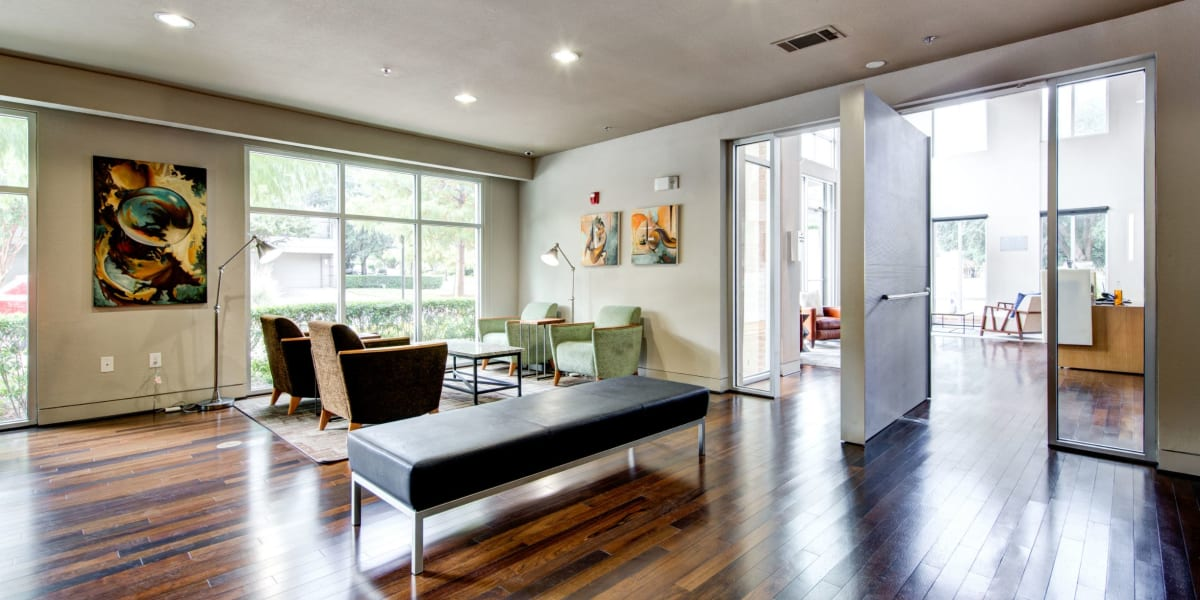 Spacious and bright clubroom at The Marq on West 7th in Fort Worth, Texas
