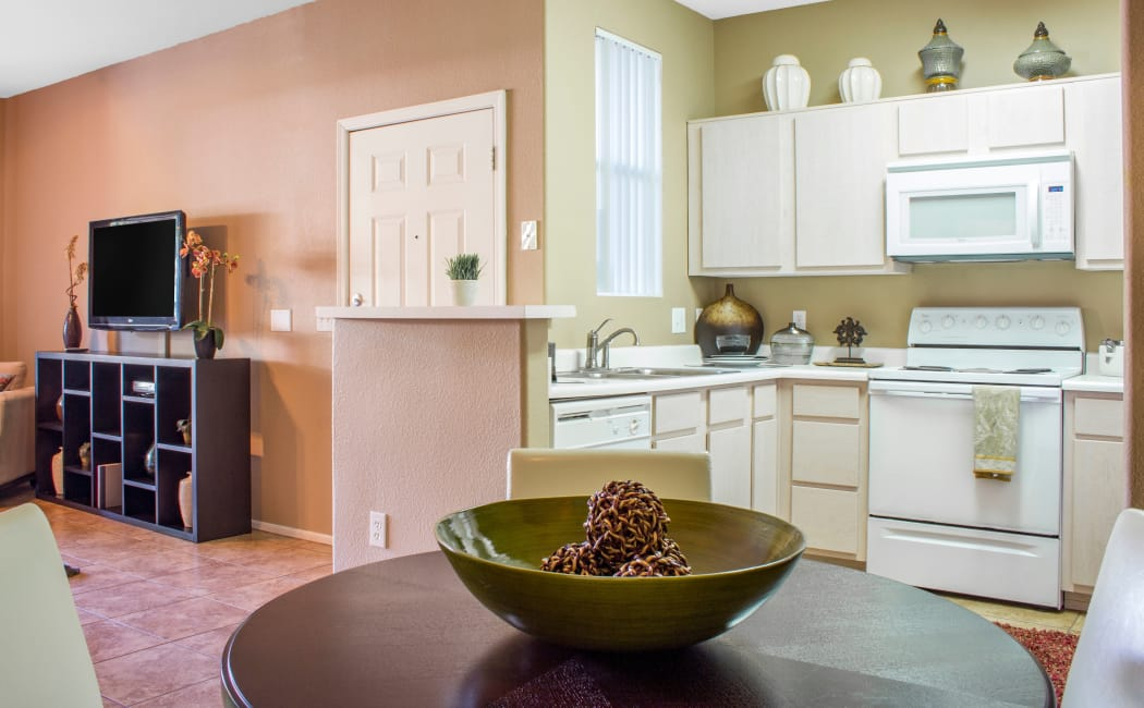 Model home kitchen and living area at Sierra Canyon in Glendale, Arizona