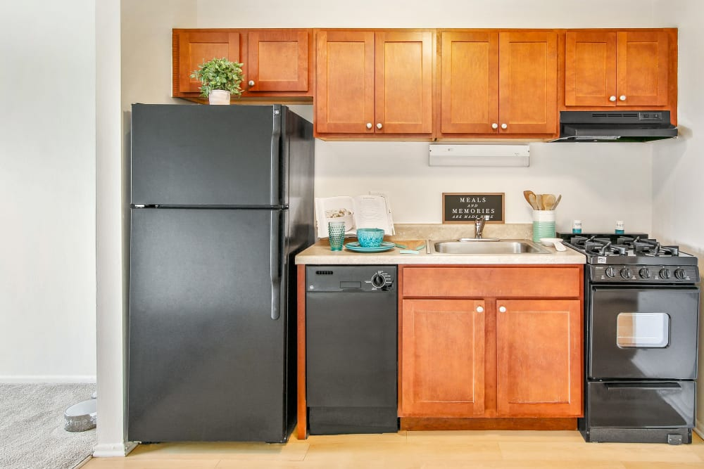 A kitchen at West Line Apartments in Hanover Park, Illinois