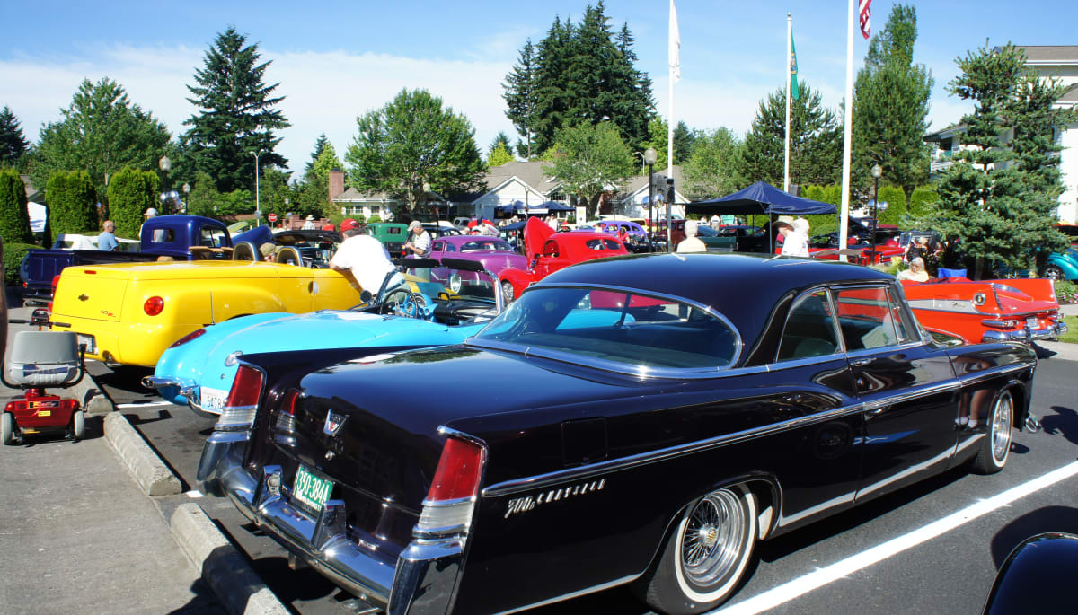 Cars during a car show at Touchmark at Fairway Village in Vancouver, Washington
