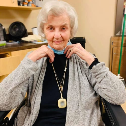 Happy resident at The Oxford Grand Assisted Living & Memory Care in McKinney, Texas