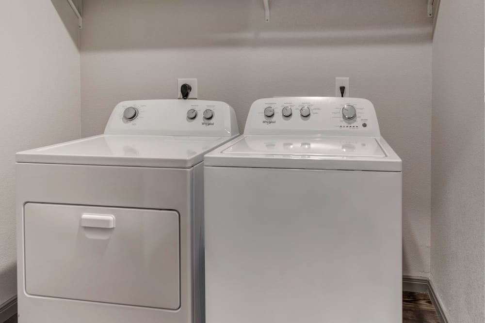 Washer and dryer at Caliza in Cedar Park, Texas