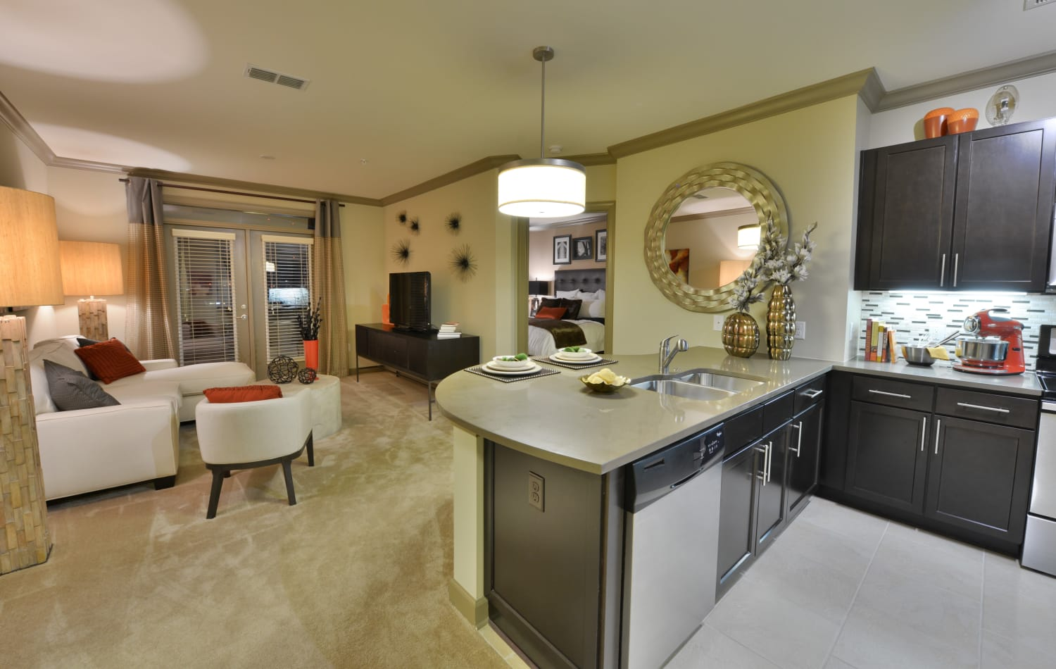 Model apartment home showcasing open floor plan layout and modern kitchen at Emory Point