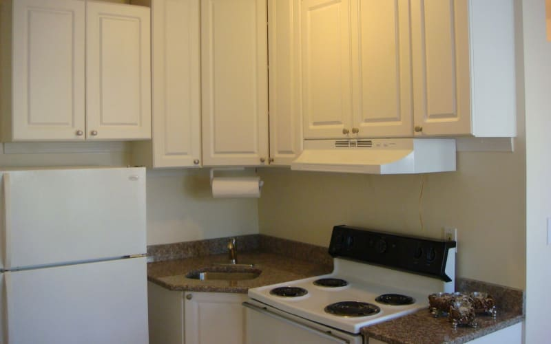 Kitchen sink and appliances in apartment at 400 Atlantic in Bridgeport, Connecticut