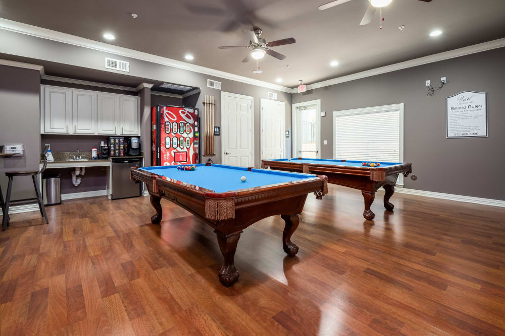 Clubhouse pool tables at Vail Quarters in Dallas, Texas