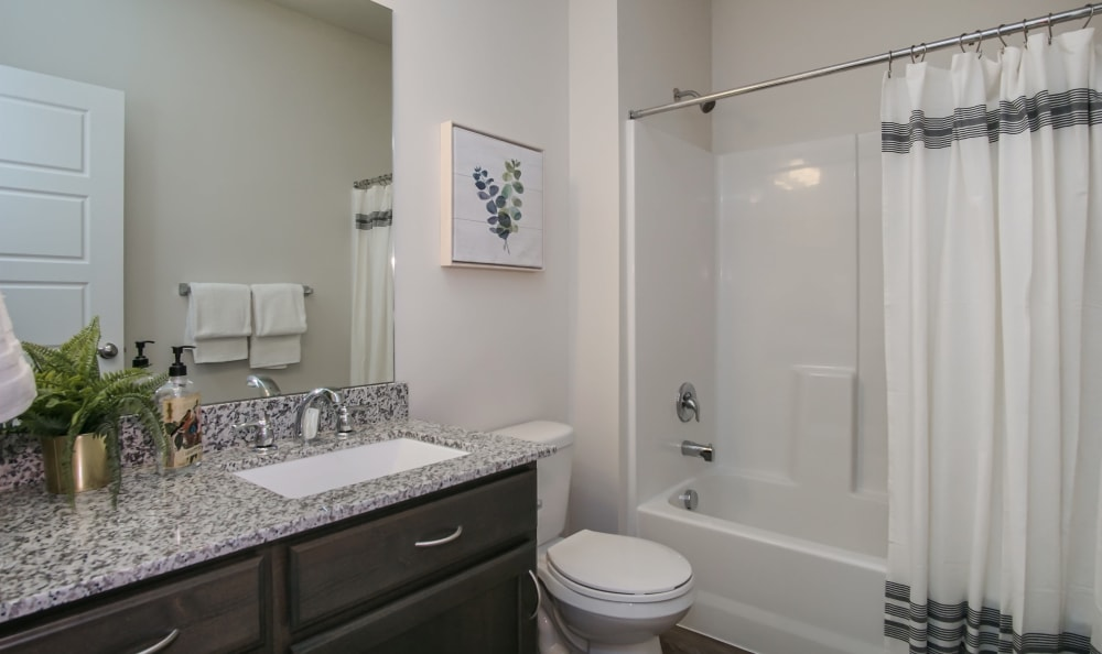 Bathroom at Liberty Point Townhome Apartments in Draper, Utah