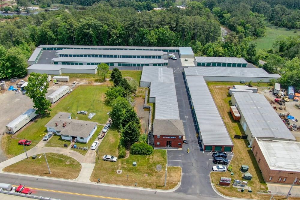 Aerial view of Dominion Self Storage in Chesapeake, Virginia