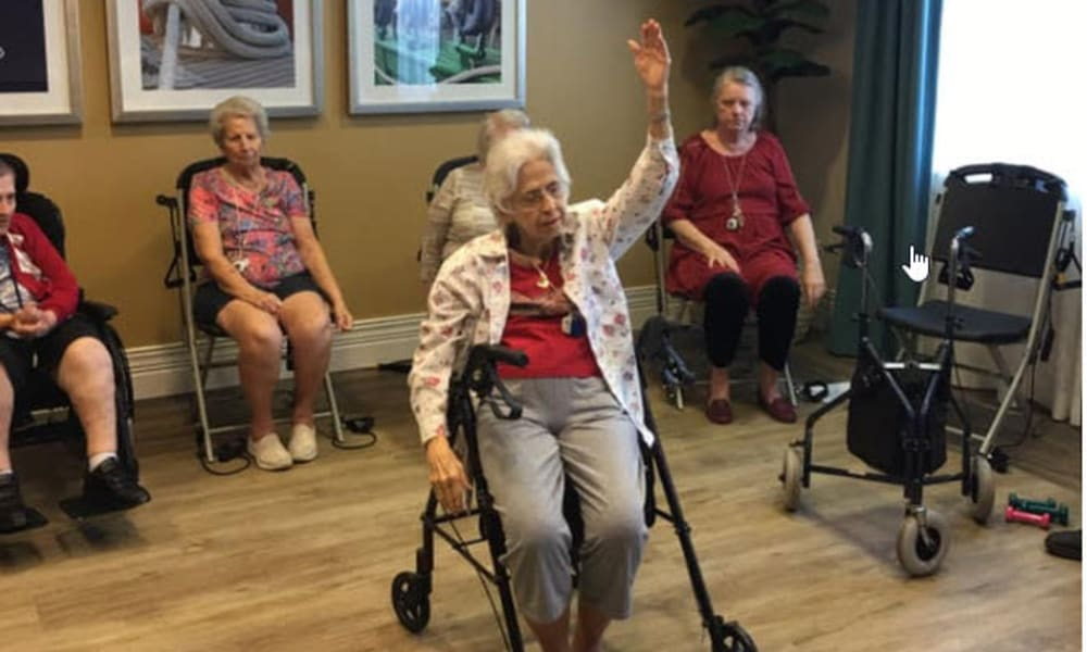 Seniors exercising at Beach House Assisted Living & Memory Care at Wiregrass Ranch in Wesley Chapel, Florida