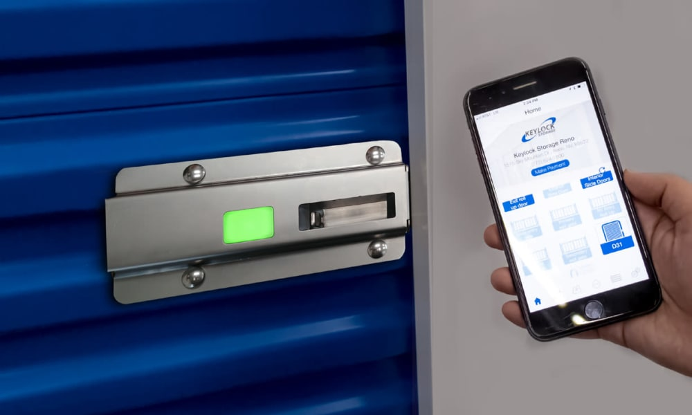 Digital lock and cell phone at Golden State Storage - Blue Diamond in Las Vegas, Nevada
