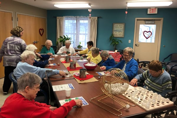Group hangout at HeatherWood Assisted Living & Memory Care in Eau Claire, WI.
