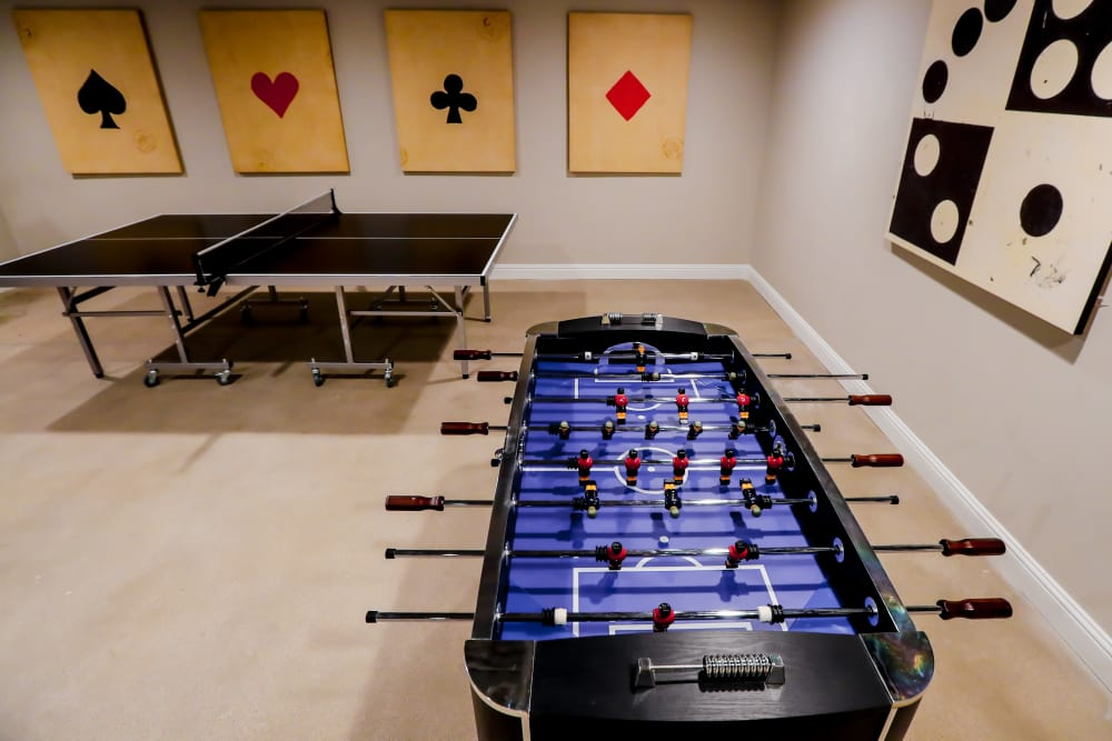 Foosball table at Halcyon House in Denver, Colorado
