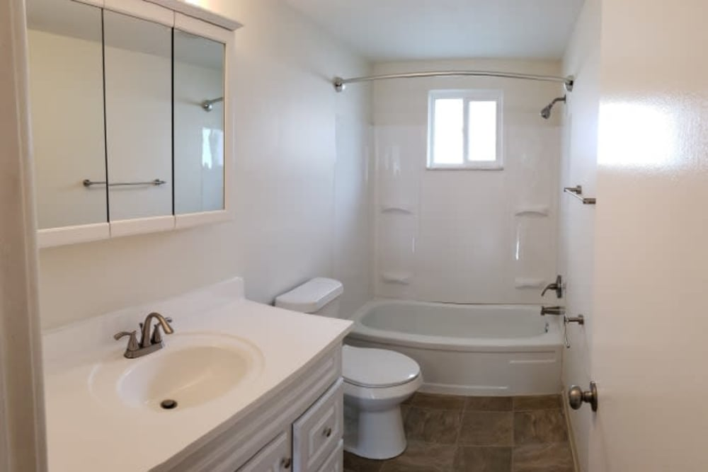 Bathroom of unit at Shaker Square Townhome Apartments