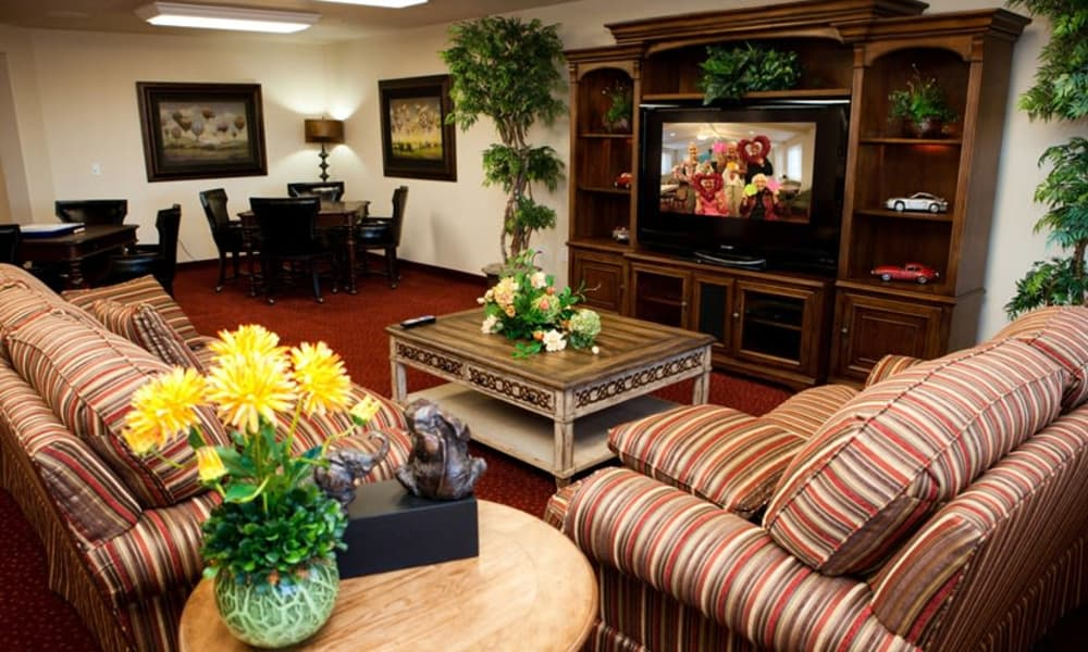 Entertainment room with comfortable places to sit at Ashwood Meadows Gracious Retirement Living in Johns Creek, Georgia