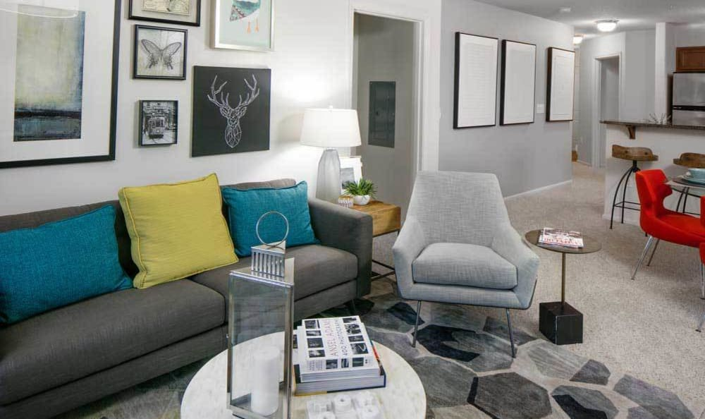 Luxury living room at Sofi at Cedar Mill in Portland, OR