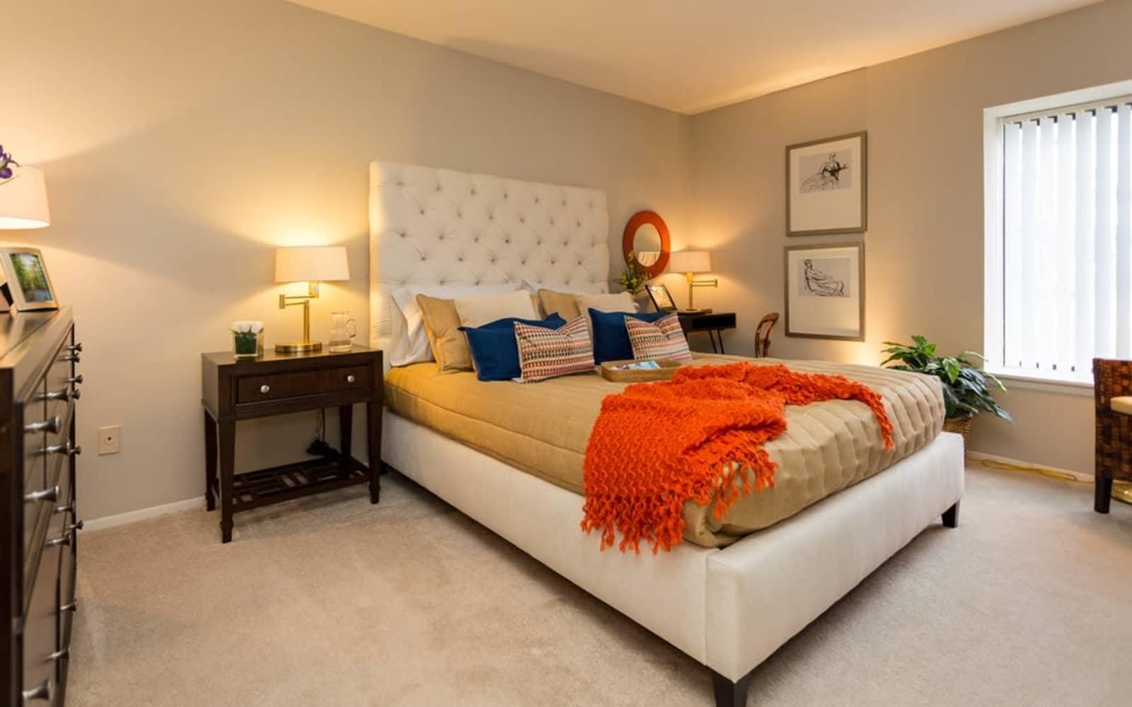 Master bedroom at Fairmont Park Apartments in Farmington Hills, Michigan