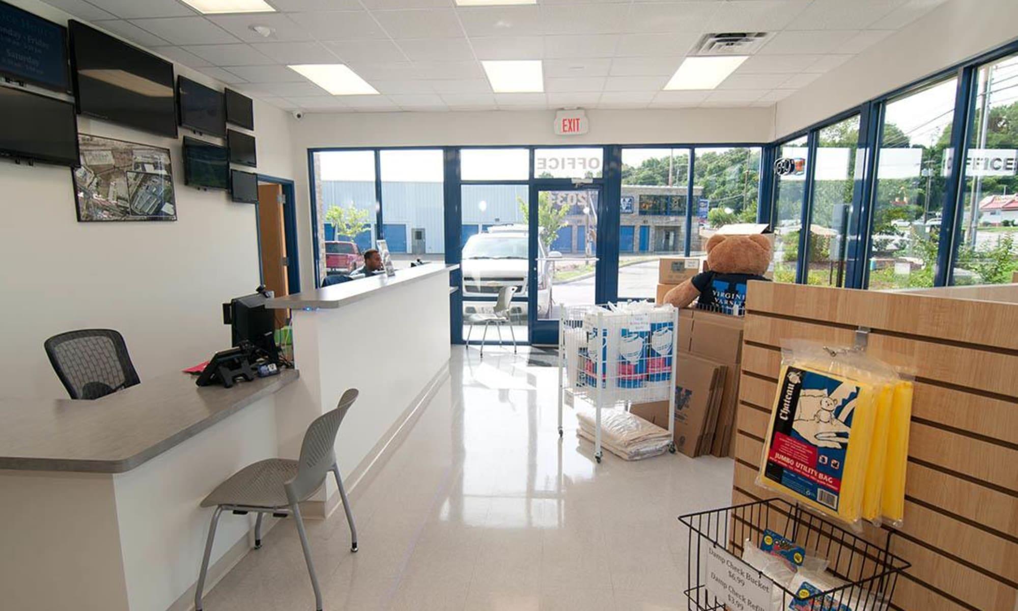 Interior of the office at Virginia Varsity Storage in Salem, Virginia